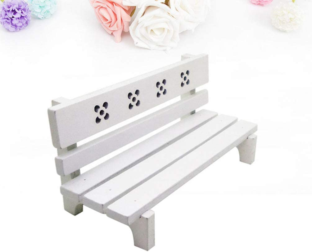 Miniature Dollhouse FAIRY GARDEN Furniture ~ Mini White Metal Bench ~ NEW