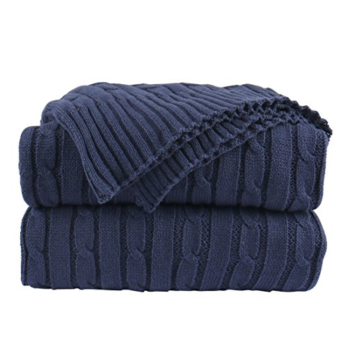 uxcell Cotton Cable Knit Throw Blanket - Lightweight Soft All Season - Solid Crochet Sweater Texture Knitted Blanket for Couch Sofa Bed Car Home Decoration,47 x 70 Inches, Navy Blue (Knit Blanket Navy)