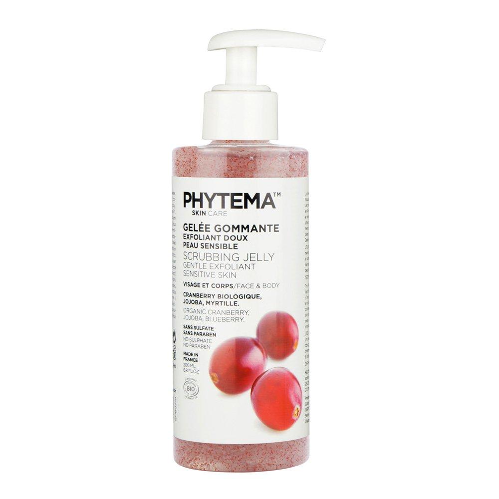 Jalea exfoliante Bio con microgranulos de Jojoba rojo, para cara y cuerpo, con vegetales naturales y Bio, sin sulfato ni parabenos, 200ml, de Phytema LABORATOIRES PHYTEMA