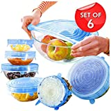 QwinWare Vacuum Silicone White 6 Lids Stretchable Cover for Bowls, Bottles, Food, Glass Cups Use in Microwave Small | Large|Medium Size Set of 6