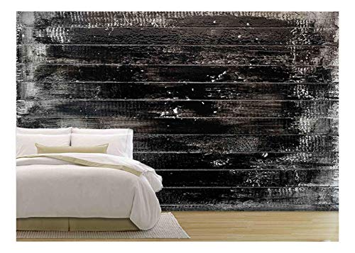 wall26 - White Wooden Plank Painted Black - Removable Wall Mural | Self-Adhesive Large Wallpaper - 66x96 inches ()