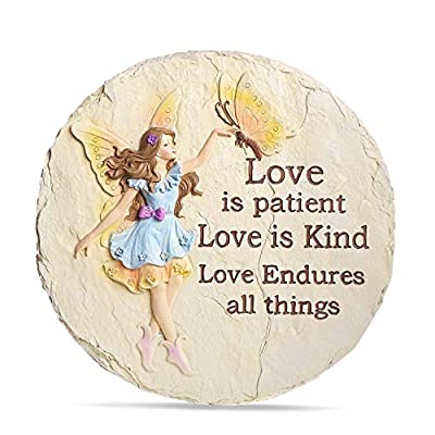 LUOSANJI Garden Stepping Stones Round Lawn Step Stone Large Fairy Yard Decorative, Love is Kind, Love is Patient, 10 Inch