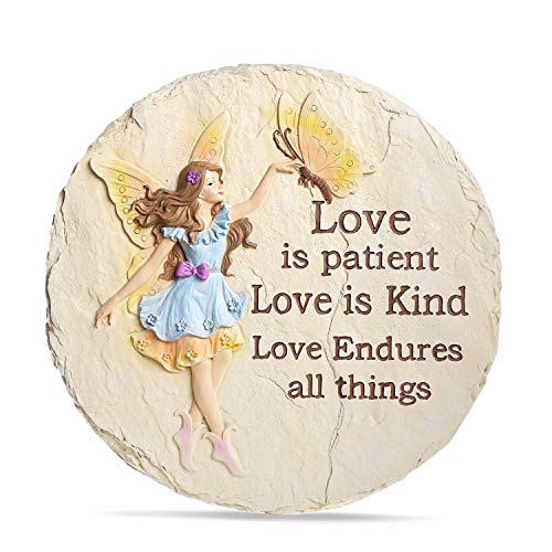 LUOSANJI Garden Stepping Stones Round Lawn Step Stone Large Fairy Yard Decorative, Love is Kind, Love is Patient, 10 Inch -