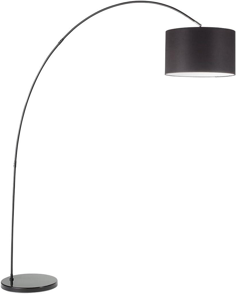 L/ámpara de pie de arco modelo 6304N Perenz Esta l/ámpara de pie est/á fabricada con un marco de metal lacado blanco y pantalla de tela negra.