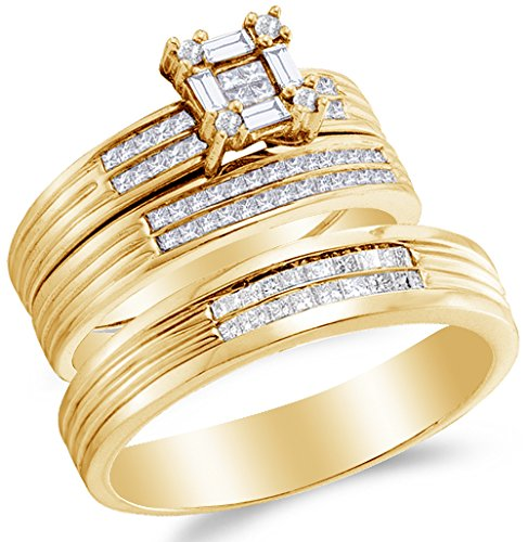 - Sizes - L = 7, M = 10 - 14K Yellow Gold Princess Cut, Round & Baguette Diamond Trio Three Ring Set - Matching His and Hers Engagement Ring & Wedding Bands - Invisible & Channel Set Square Princess Center Setting Shape (3/5 cttw.) - Please use drop down menu to select your desired ring sizes