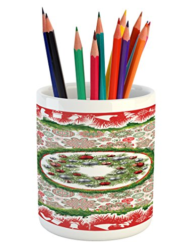 Ambesonne Christmas Pencil Pen Holder, Fir Tree Wreath with Vivid Bauble Figures Ornate Flowers Bells Presents Print, Printed Ceramic Pencil Pen Holder for Desk Office Accessory, Multicolor