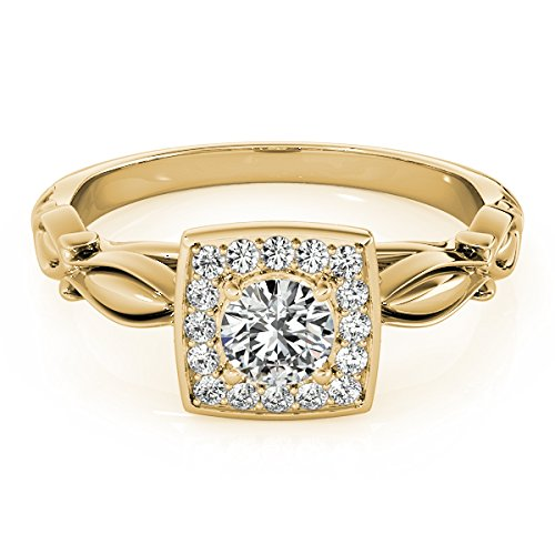 0.50 Ct Diamond Halo Square Cut Engagement Ring In 14K Yellow Gold by MauliJewels (Image #1)