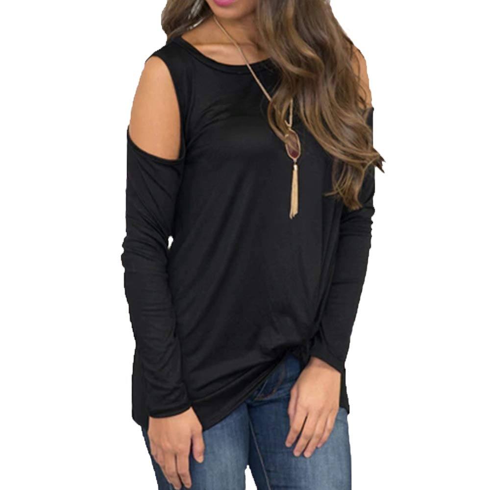 Eanklosco Women's Long Sleeve Cold Shoulder Cut Out T Shirts Casual Knot Front Tunic Tops (Black, S)