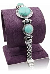 Tibet Silver Plated Genuine Turquoise Link Wristband Bangle Bracelet