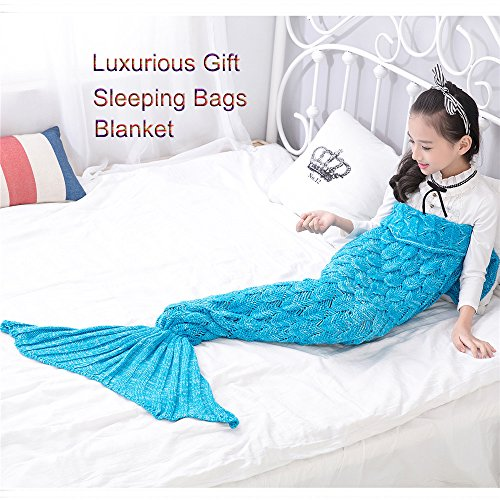 Awkli Kids Mermaid Tail Blanket, Knitted Crochet Fish-Scale Pattern Mermaid Sleeping Bag Quilt Christmas Gift for Child 59