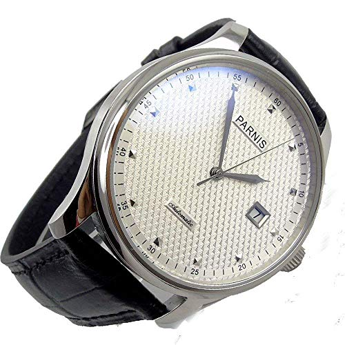 Top Brand 43mm White Dial Silver Hands Seagull ST 2551 Automatic Movement Men's Watch 3 Bar Waterproof