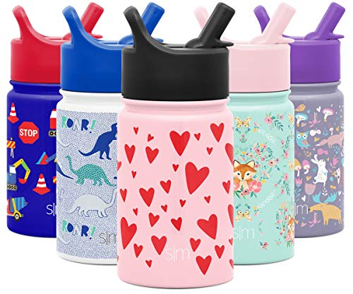 Simple Modern 10oz Summit Kids Water Bottle Thermos with Straw Lid - Dishwasher Safe Vacuum Insulated Double Wall Tumbler Travel Cup 18/8 Stainless Steel -Hearts