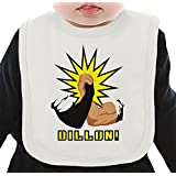 Dillon You Son of a Bch Organic Bib W/ Ties| 100% Organic Ring-Spun Combed Cotton| Soft & Comfortable Bib Made W/ Eco-Friendly Materials| Unique Baby Clothing By Bang Bangin