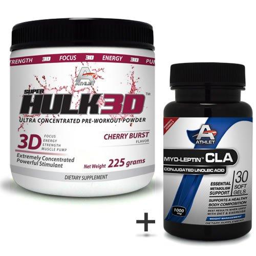 Athlet savoir Hulk3d pré-séance d'entraînement en poudre 225 gr de Cherry Burst-f ocus sans CLA