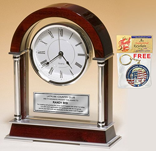 (Personalized Engraved Clock Large Table Cherry Arch Silver Chrome Posts Birthday Retirement Employee Recognition Anniversary Mantle Desk Table Clock Service Award Boss Coworker)
