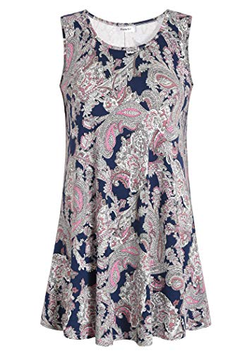 Esenchel Women's Flowy Sleeveless Tunic Top for Leggings L Navy Paisley Print
