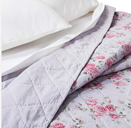 Simply Shabby Chic 3-pc Purple Berry Rose Linen/Cotton Blend Quilt Set - Full/Queen (Set Includes: F/Q Quilt + 2 Standard Shams)