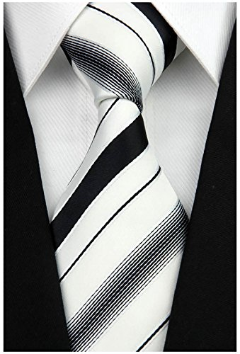 (w3dayup mens Classic Plaid Tie Necktie Woven Jacquard Neck Black White Stripe Ties For Men)