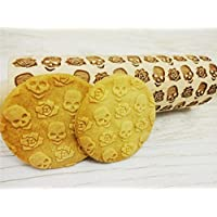 Rolling pin SKULLS and ROSES. Wooden embossing rolling pin with SKULLS and ROSES pattern. Embossed cookies. Pottery.