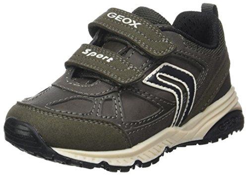 Geox Bernie C, Zapatillas Para Niños Gris (Dk Grey/black)