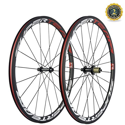 Superteam 38mm Carbon Road Wheelset 23mm Width Clincher Wheel with Basalt Braking Surface