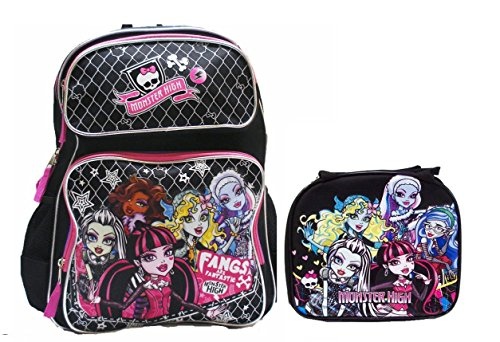 Monster High Large Backpack with Insulated Lunch Bag Set 2 Pcs .