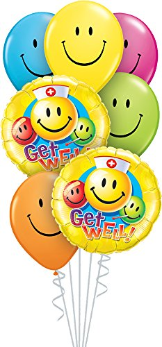 Get Balloon Well Party - Qualatex 30942 Balloon Bouquet 7-Piece Set Get Well Smiles