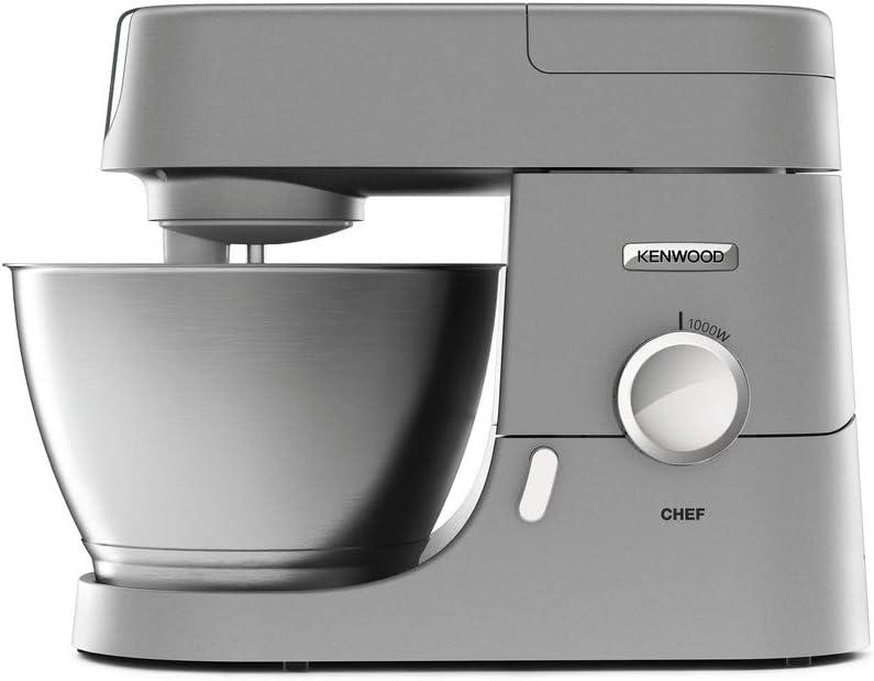 Kenwood Chef KVC3110S - Robot de Cocina Multifunción, Bol de Metal de 4,6 Litros, Varillas para Mezclar, Amasar y Batir, Indicador de Velocidades, 1000 W, Color Plata