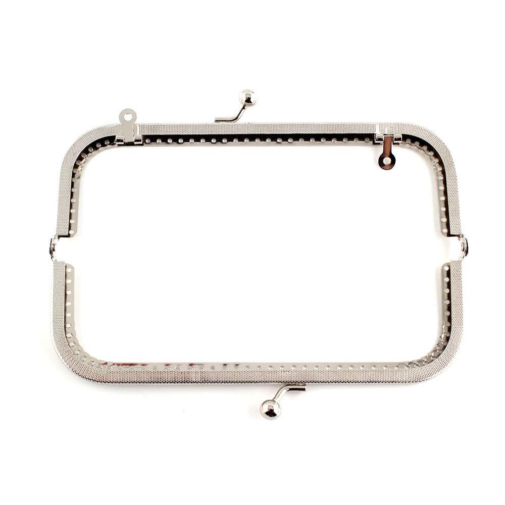 RUBY - Boquilla para bolsos y monederos Cierre de boquilla para bolso Cierre monederos boquilla de bolso para Patchwork (Plateado, 18cm)
