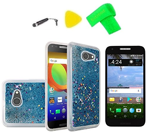 TPU Flexible Cover Phone Case + Screen Protector + Extreme Band + Stylus Pen + Pry Tool For Alcatel ZIP LTE A577VL A576BL (TPU Liquid Quicksand Blue)