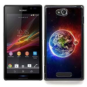 "Qstar Arte & diseño plástico duro Fundas Cover Cubre Hard Case Cover para Sony Xperia C (Tierra Luna Fuego Agua Universo Planet Ver"")"