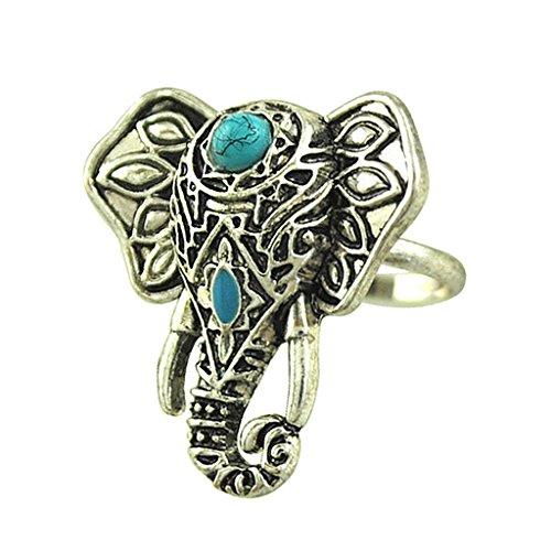 Baoblaze 1 pcs Anillo Elefante Filigrana Color Plata Antigua para Mujer Accesorio Único Moda