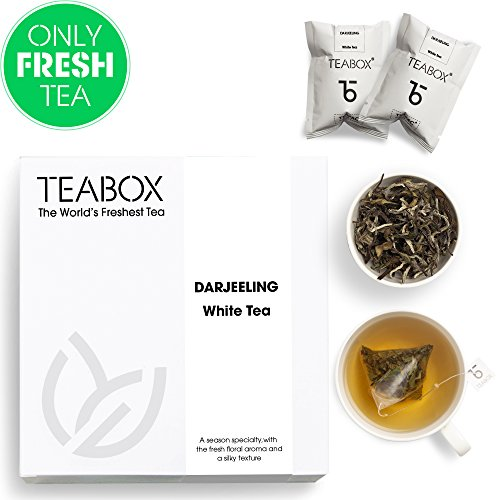 Teabox Himalayan Darjeeling White Tea, 16 Tea Bags | 100% Natural and Healthy:High Elevation First Flush White Darjeeling CTM Tea | Anti-Oxidants Rich Detox Tea | Sealed-at-Source Freshness from India