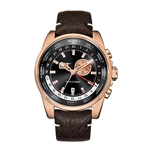 Gmt World Timer (CAT World Timer Multifunction GMT Men's Date Watch Rose Gold Brown Leather Strap WT19535129)