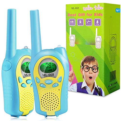 ShinePick Walkie Talkies for Kids, 22 Channels 2 Way Radio Toy 3 Mile Long Range Handheld Talkies with Backlit LCD Built-in Flashlight for Outdoor Adventures, Camping, Hiking 2 Pack