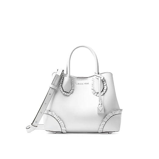 f81b32d910 ... Womens Accessories Michael Kors Mercer Gallery White Ruffled Small  Satchel Spring Summer 2018 reasonable price ae89f ...
