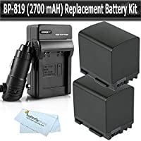 2 Pack Battery Kit For Canon VIXIA HF M300 HF M30 HF M31 M32 M40 M41 HF S200 H S20 HF S21 S30 S40 S400 HF200 HG20 HG21 Dual Flash Memory Camcorder Includes 2 5hr Replacement Extended BP-819 (2100 mAH) Battery + Ac/Dc Rapid Travel Battery Charger + More
