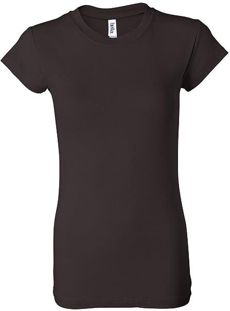 bella Ladies Kimberley Sheer Rib Short Sleeve Longer Length T-Shirt,  Chocolate, S