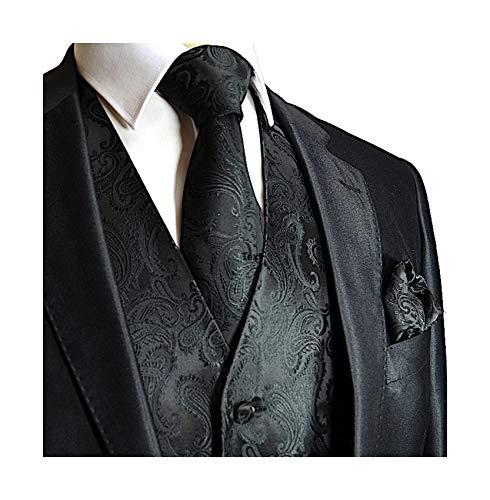 Men's Black Paisley Design 3pc Dress Vest- Medium ()