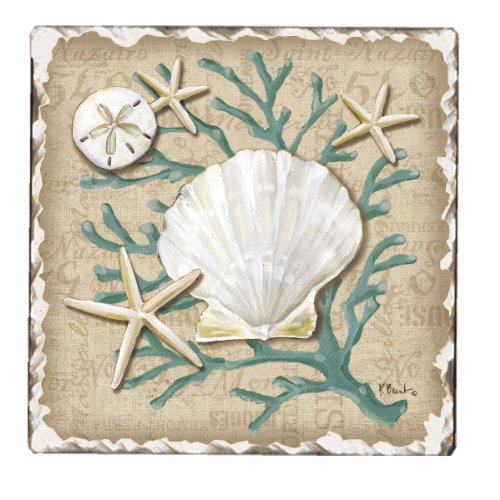 Tile Edge Linen (CounterArt Tumbled Tile Coasters, Linen Shells, Set of 4)