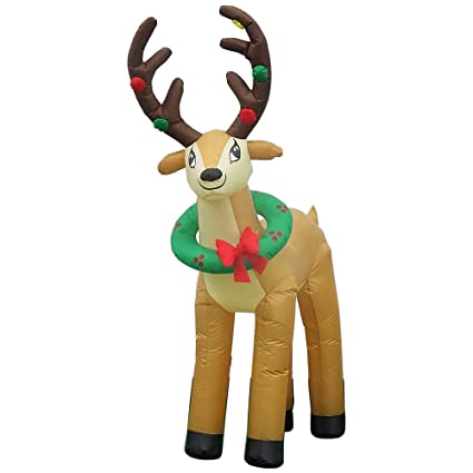 Merveilleux Inflatable Reindeer 6 Ft. With Energy Efficient LEDs With Wreath