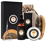 #3: XIKEZAN Mens gifts for Men Beard Care Grooming & Trimming Kit Unscented Bearded Oil Leave-in Conditioner + Mustache & Beard Comb+Balm Wax+Brush+Barber Scissors for Styling Shaping & Growth