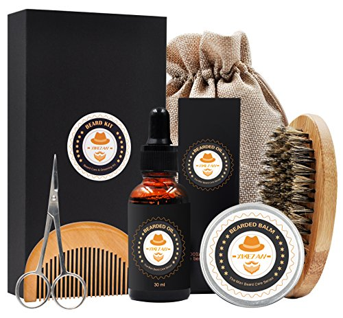 XIKEZAN Mens gifts for Men Beard Care Grooming & Trimming Kit Unscented Bearded Oil Leave-in Conditioner + Mustache & Beard Comb+Balm Wax+Brush+Barber Scissors for Styling Shaping & Growth