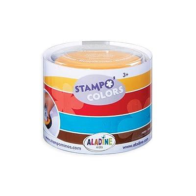 Aladine 85151 Stampo Colors - Lote de 4 tampones para Sellos de Madera (Colores Rojo, marrón, Amarillo y Azul): Juguetes y juegos