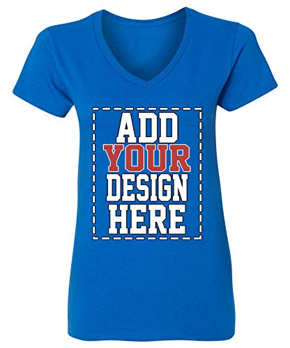 Tees By Design Screen Printing - Custom V Neck T Shirts for Women - Make Your OWN Shirt - Add Your Design Picture Photo Text Printing