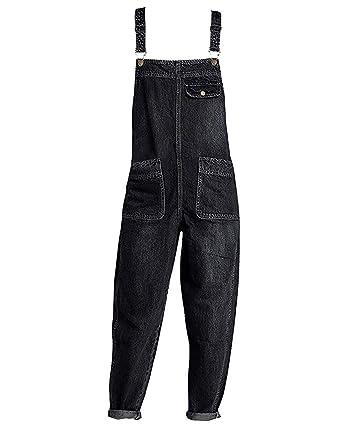 026512627edf0c Minghe Damen Latz Jeans Loose Denim Latzhose Overalls Jeans Knöchellang  Schwarz 32/34
