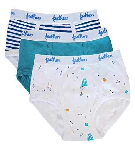 Feathers Boys Botany Print Tagless Briefs Underwear - 100% Cotton Super Soft Briefs (3/pack)