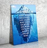 Success Hard Work Persistence Late Nights Quote Success Iceberg Framed Wall Art Canvas (24W X 36L)