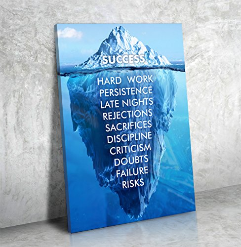 Success Hard Work Persistence Late Nights Quote Success Iceberg Framed Wall Art Canvas (18W X x24L) Inspirational Sign Framed