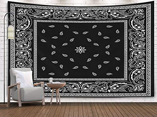 Pamime Tapestry Wall Hanging, Home Decor Tapestry Black Bana Pattern Dorm Room Bedroom Living Room 80X60 Inches(200X150Cm) Bedspread - Silk Black Tapestry